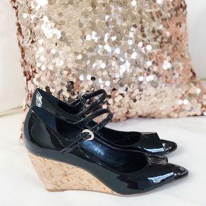 [ Franco Sarto ] Black Patent Leather Wedges